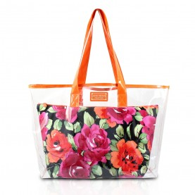Jacki Design  Large Clear Orange Shopper Beach Gym Tote Bag Black Floral Insert Handbag Purse